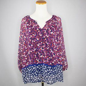 Liz Claiborne boho sheer top with built in tank